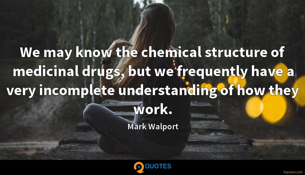 We may know the chemical structure of medicinal drugs, but we frequently have a very incomplete understanding of how they work.