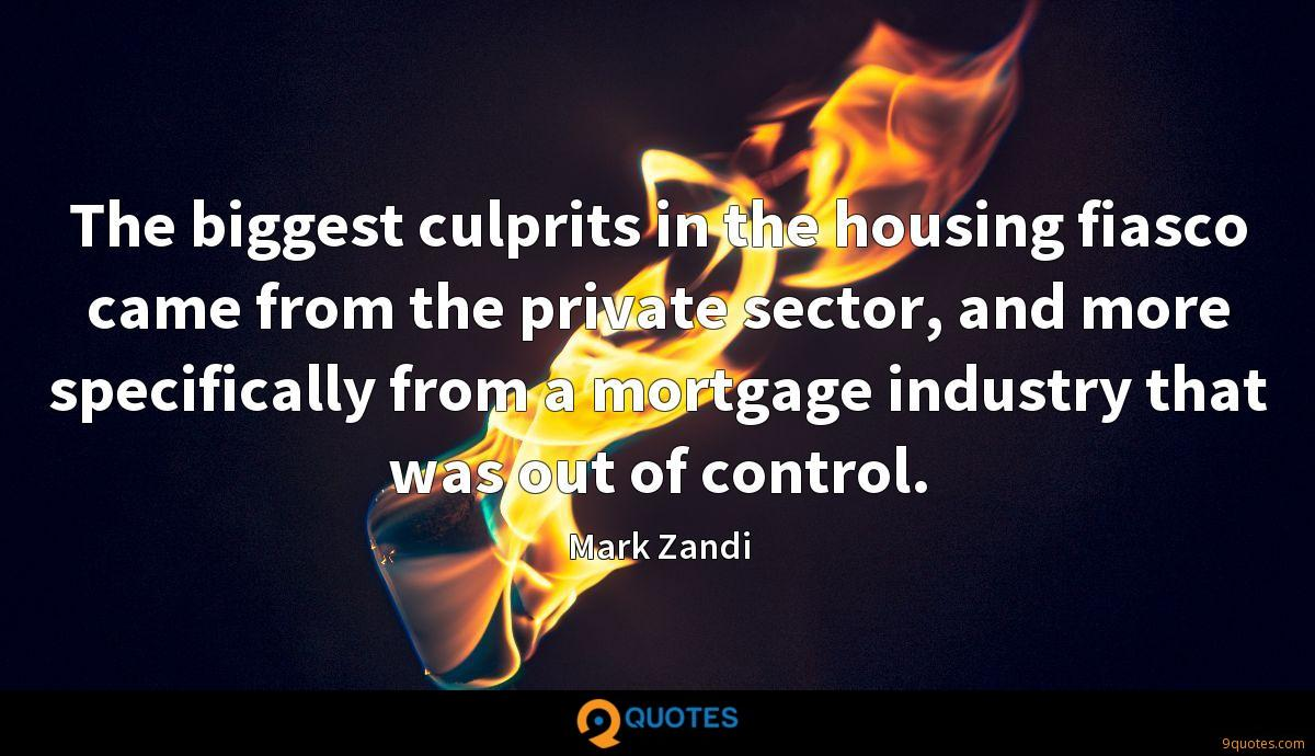 The biggest culprits in the housing fiasco came from the private sector, and more specifically from a mortgage industry that was out of control.