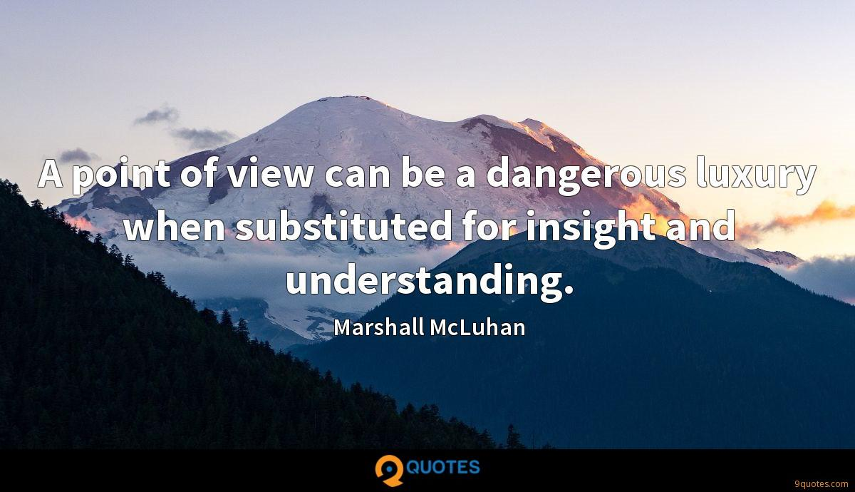 A point of view can be a dangerous luxury when substituted for insight and understanding.