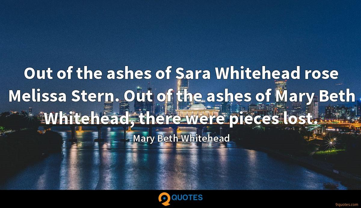 Out of the ashes of Sara Whitehead rose Melissa Stern. Out of the ashes of Mary Beth Whitehead, there were pieces lost.