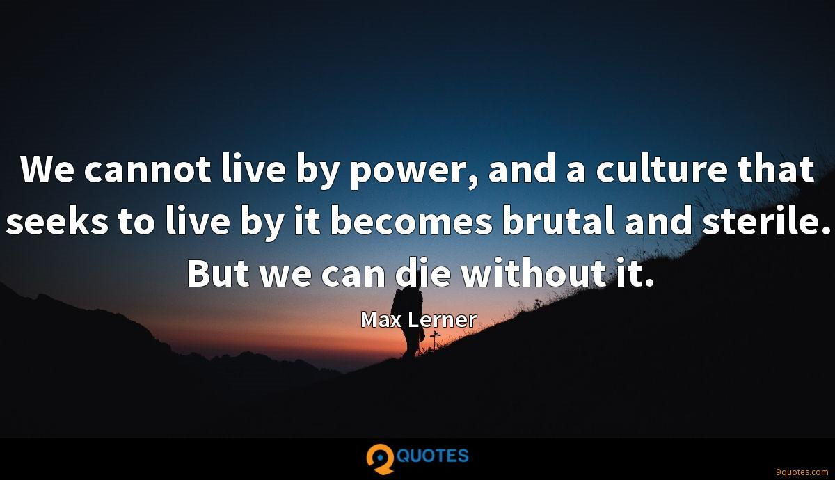 We cannot live by power, and a culture that seeks to live by it becomes brutal and sterile. But we can die without it.