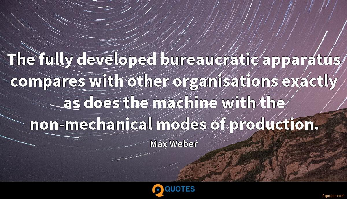 The fully developed bureaucratic apparatus compares with other organisations exactly as does the machine with the non-mechanical modes of production.