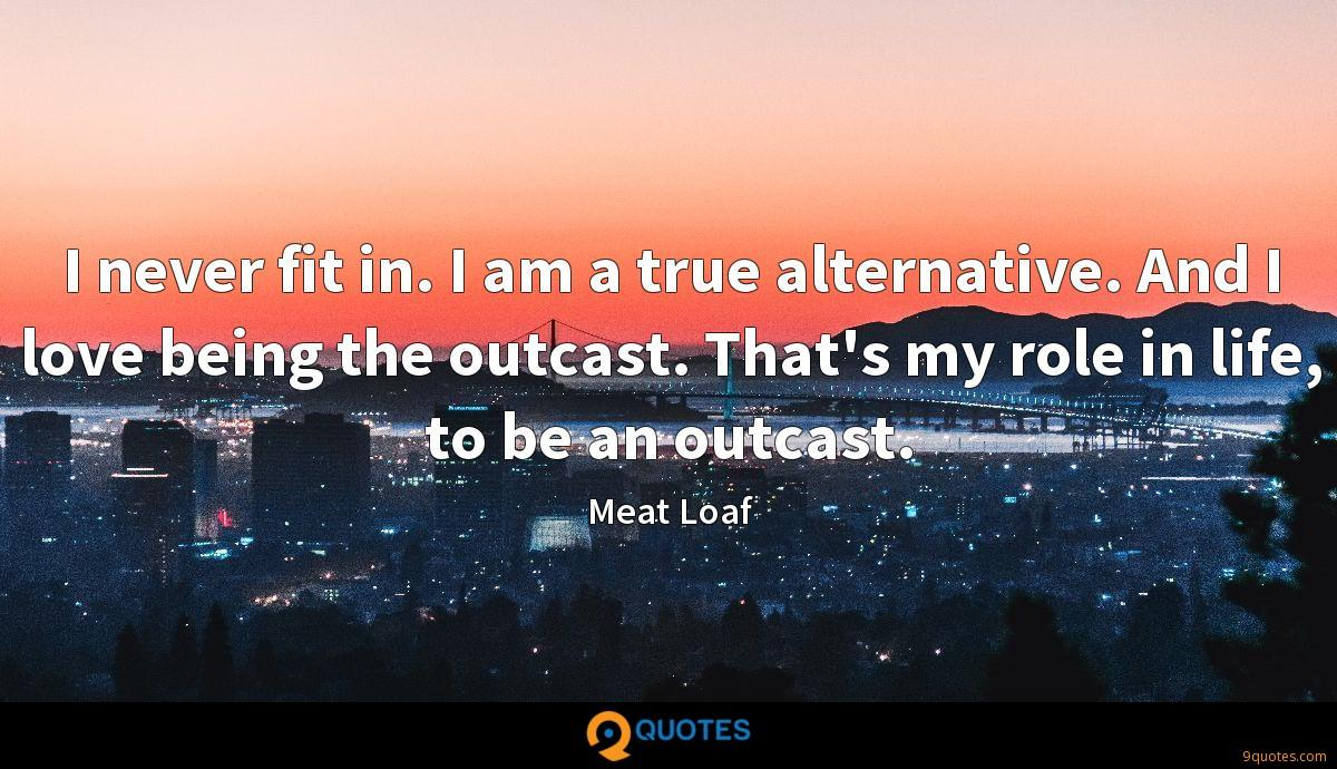 I never fit in. I am a true alternative. And I love being the outcast. That's my role in life, to be an outcast.