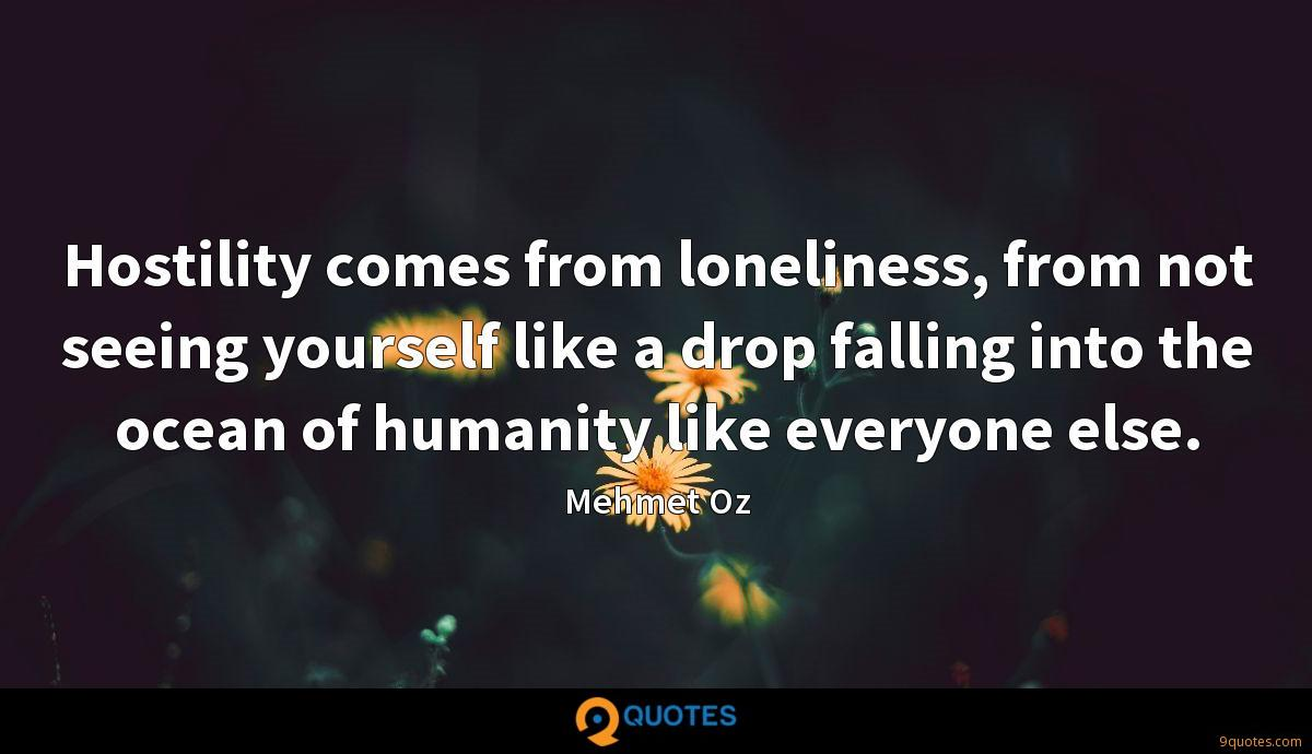 Hostility comes from loneliness, from not seeing yourself like a drop falling into the ocean of humanity like everyone else.