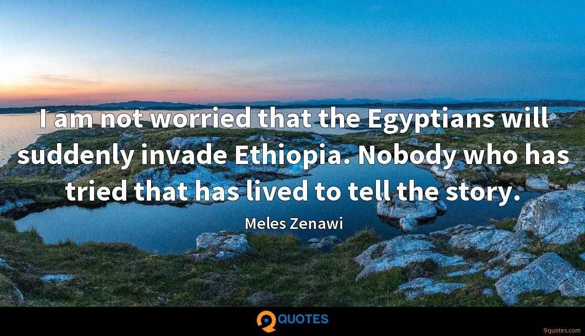 I am not worried that the Egyptians will suddenly invade Ethiopia. Nobody who has tried that has lived to tell the story.