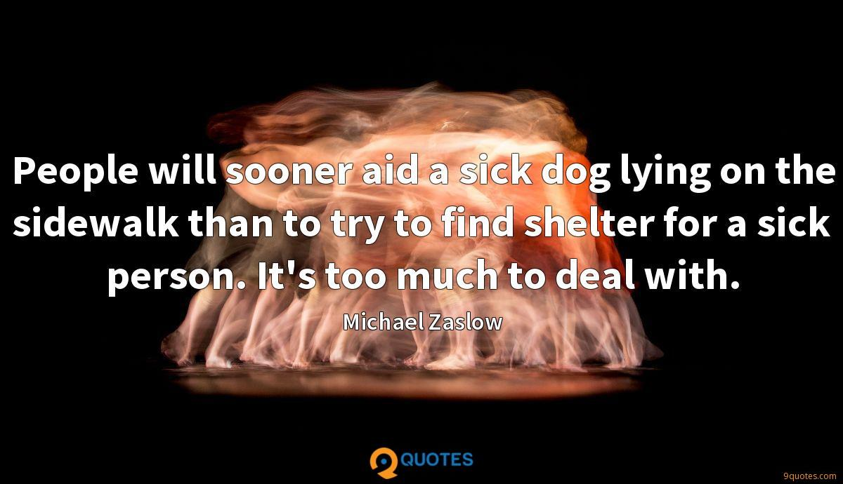 People will sooner aid a sick dog lying on the sidewalk than to try to find shelter for a sick person. It's too much to deal with.