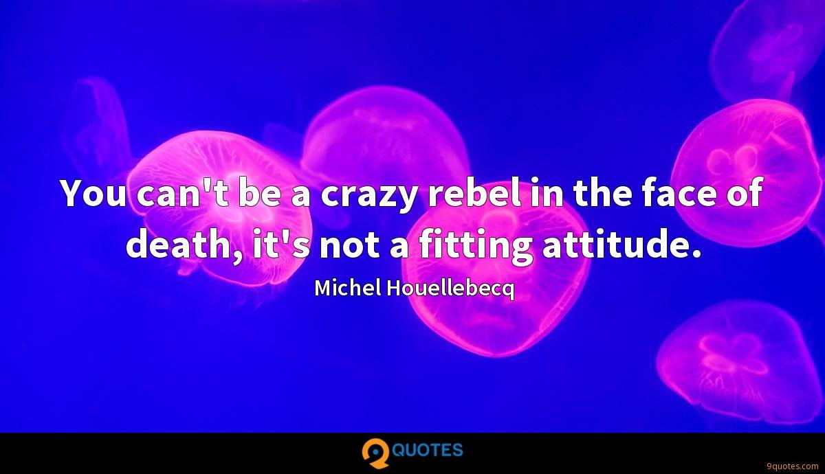 You can't be a crazy rebel in the face of death, it's not a fitting attitude.