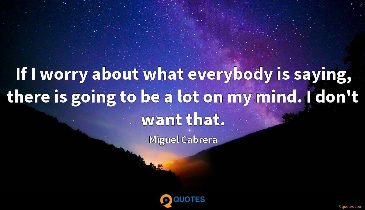 If I worry about what everybody is saying, there is going to be a lot on my mind. I don't want that.