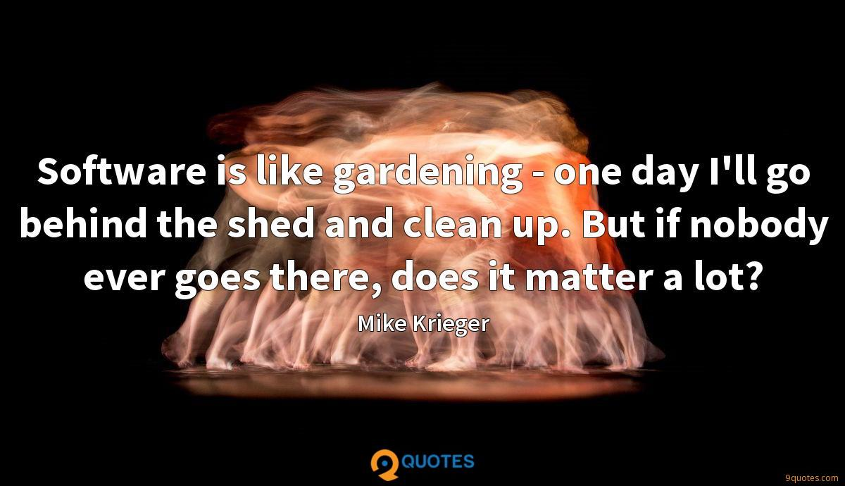 Software is like gardening - one day I'll go behind the shed and clean up. But if nobody ever goes there, does it matter a lot?