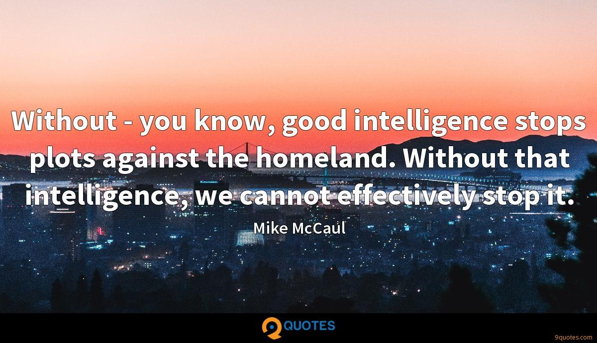 Without - you know, good intelligence stops plots against the homeland. Without that intelligence, we cannot effectively stop it.