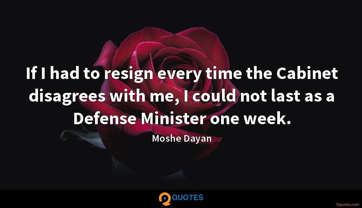 If I had to resign every time the Cabinet disagrees with me, I could not last as a Defense Minister one week.