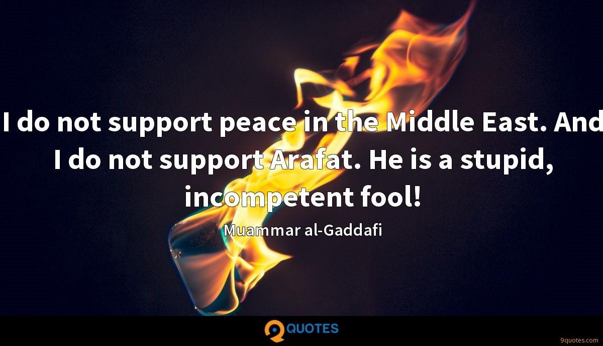 I do not support peace in the Middle East. And I do not support Arafat. He is a stupid, incompetent fool!