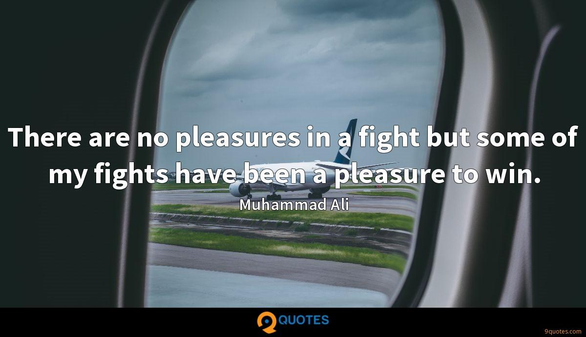 There are no pleasures in a fight but some of my fights have been a pleasure to win.