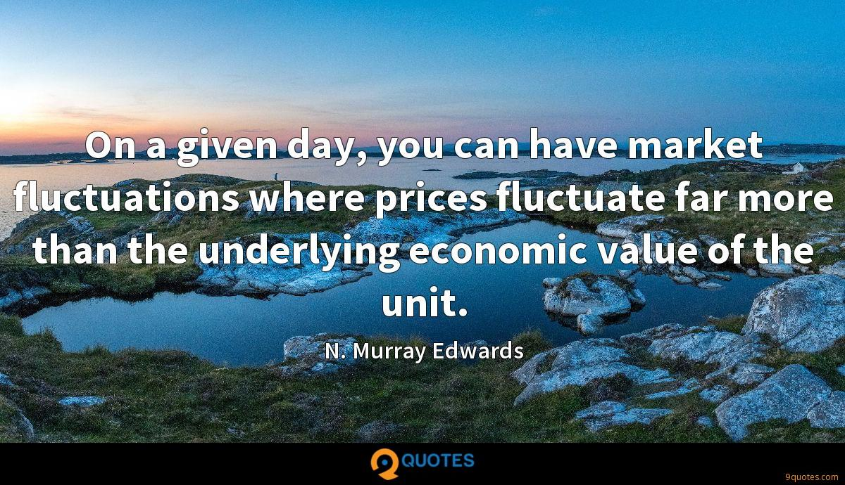 On a given day, you can have market fluctuations where prices fluctuate far more than the underlying economic value of the unit.