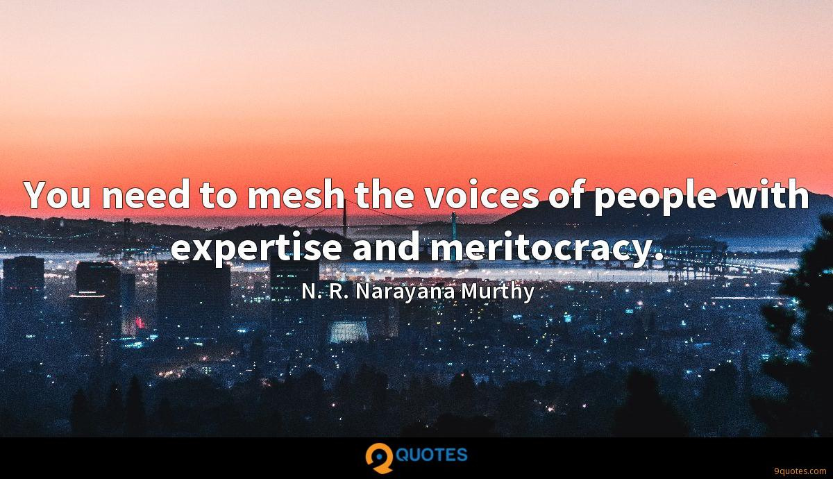 You need to mesh the voices of people with expertise and meritocracy.
