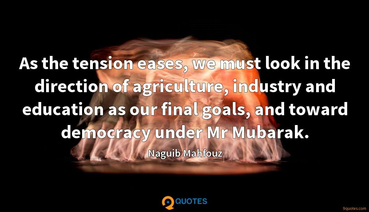 As the tension eases, we must look in the direction of agriculture, industry and education as our final goals, and toward democracy under Mr Mubarak.