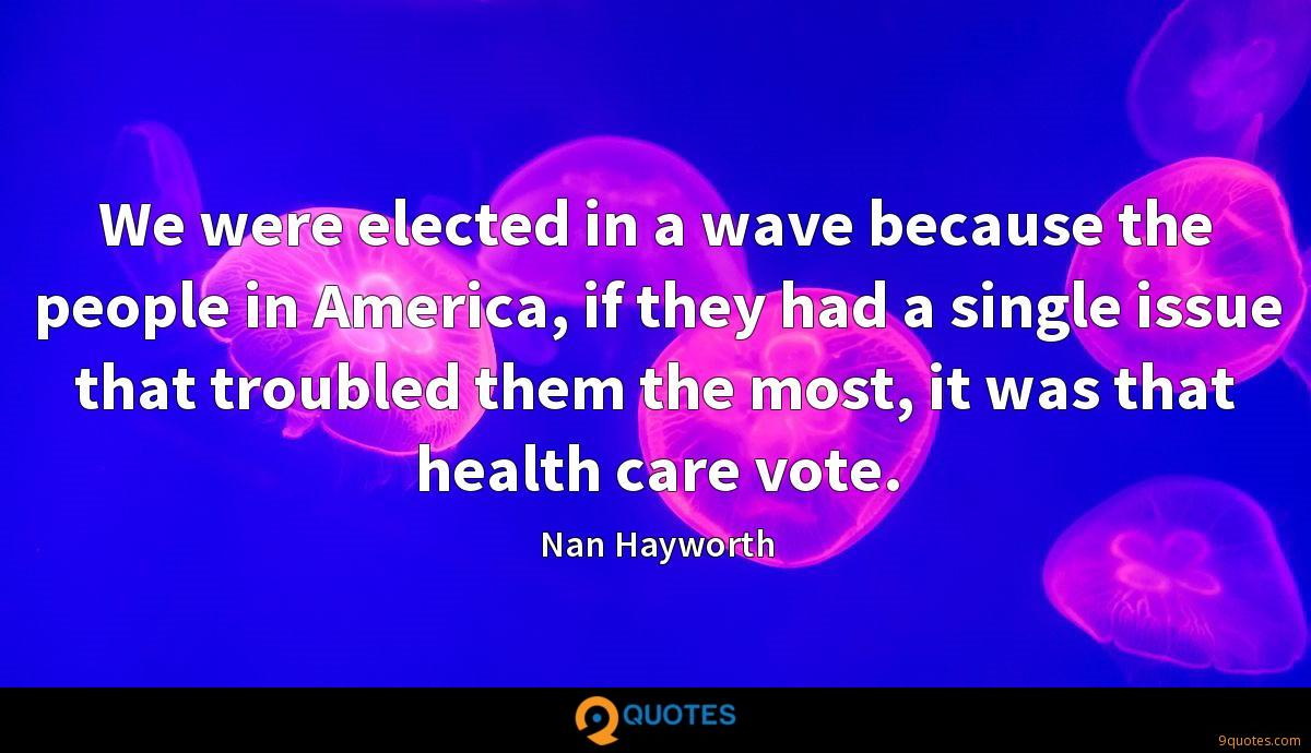 We were elected in a wave because the people in America, if they had a single issue that troubled them the most, it was that health care vote.