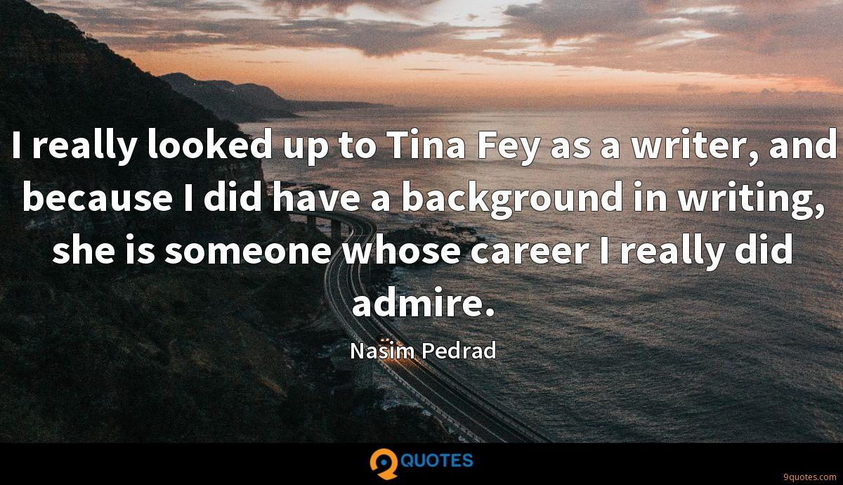 I really looked up to Tina Fey as a writer, and because I did have a background in writing, she is someone whose career I really did admire.