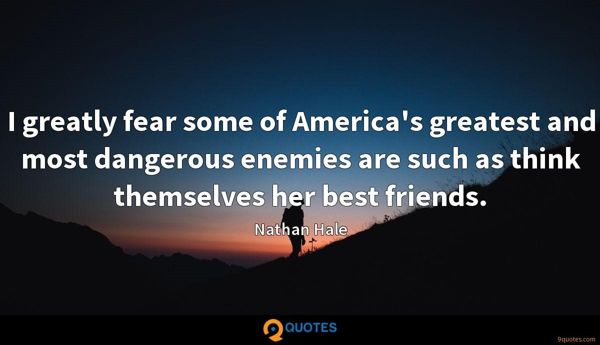 I greatly fear some of America's greatest and most dangerous enemies are such as think themselves her best friends.