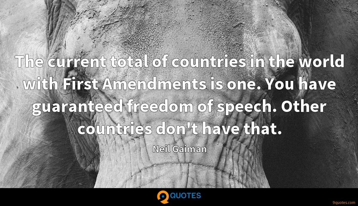 The current total of countries in the world with First Amendments is one. You have guaranteed freedom of speech. Other countries don't have that.