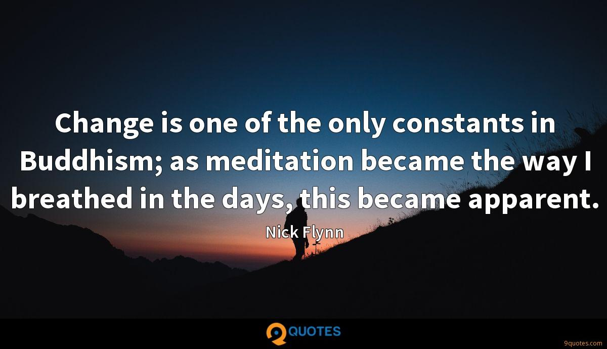 Change is one of the only constants in Buddhism; as meditation became the way I breathed in the days, this became apparent.