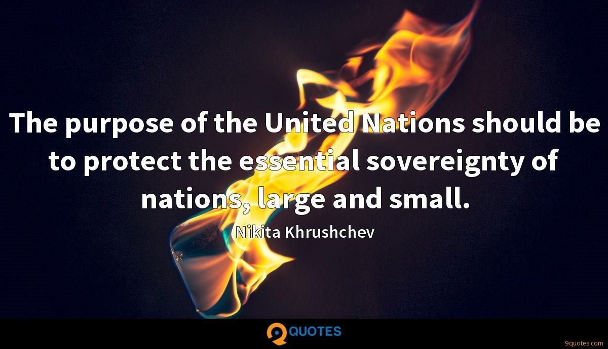 The purpose of the United Nations should be to protect the essential sovereignty of nations, large and small.