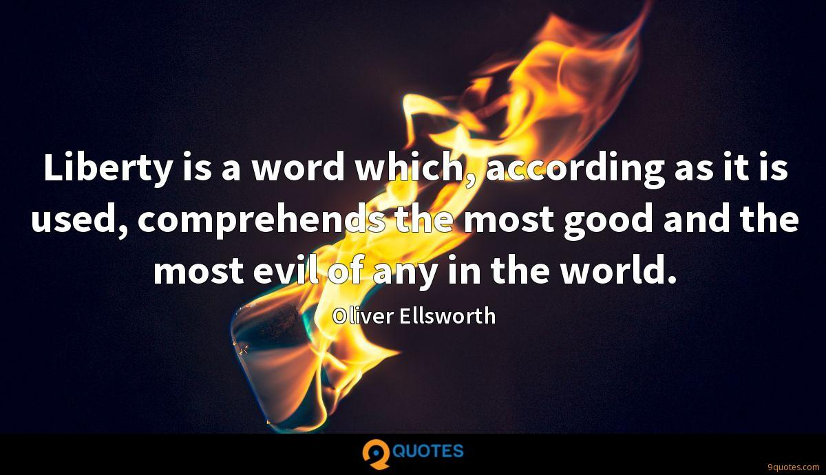 Liberty is a word which, according as it is used, comprehends the most good and the most evil of any in the world.