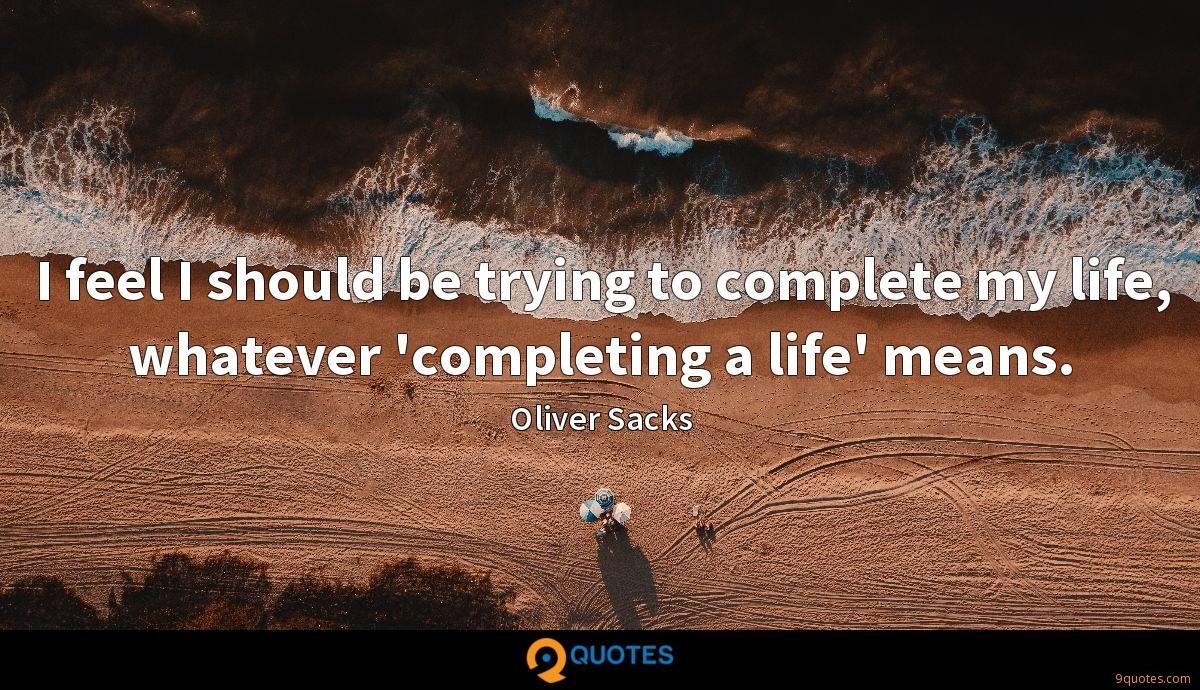 I feel I should be trying to complete my life, whatever 'completing a life' means.