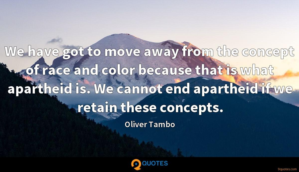 We have got to move away from the concept of race and color because that is what apartheid is. We cannot end apartheid if we retain these concepts.