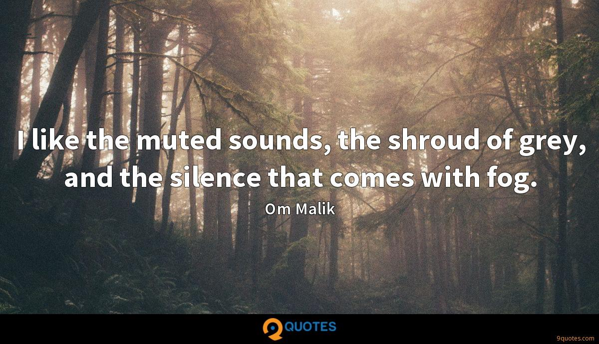 I like the muted sounds, the shroud of grey, and the silence that comes with fog.