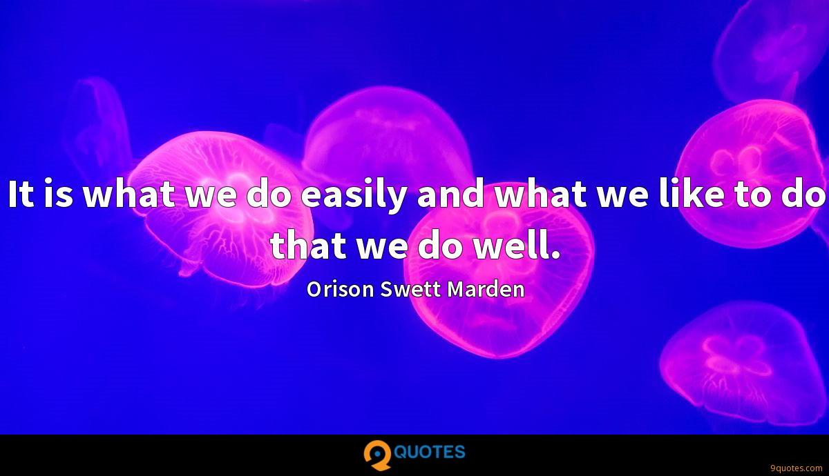 It is what we do easily and what we like to do that we do well.
