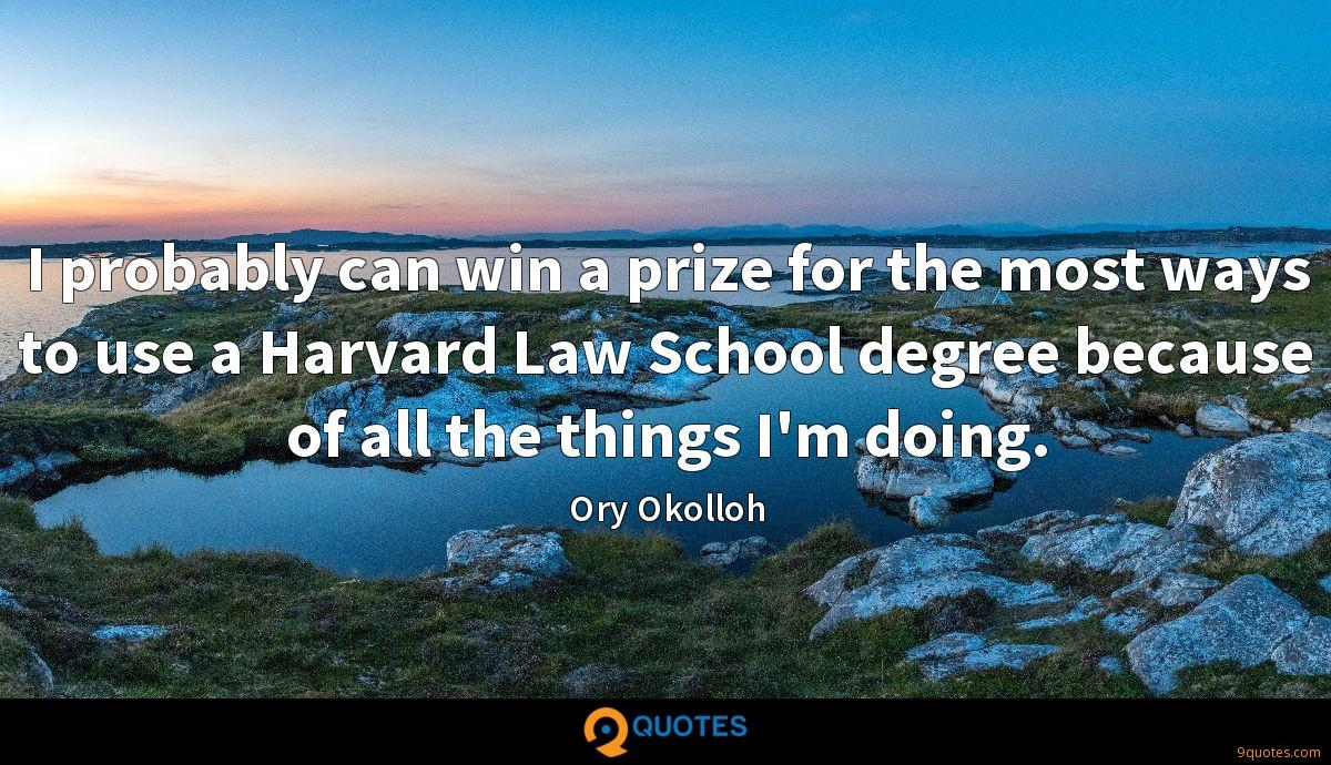 I probably can win a prize for the most ways to use a Harvard Law School degree because of all the things I'm doing.