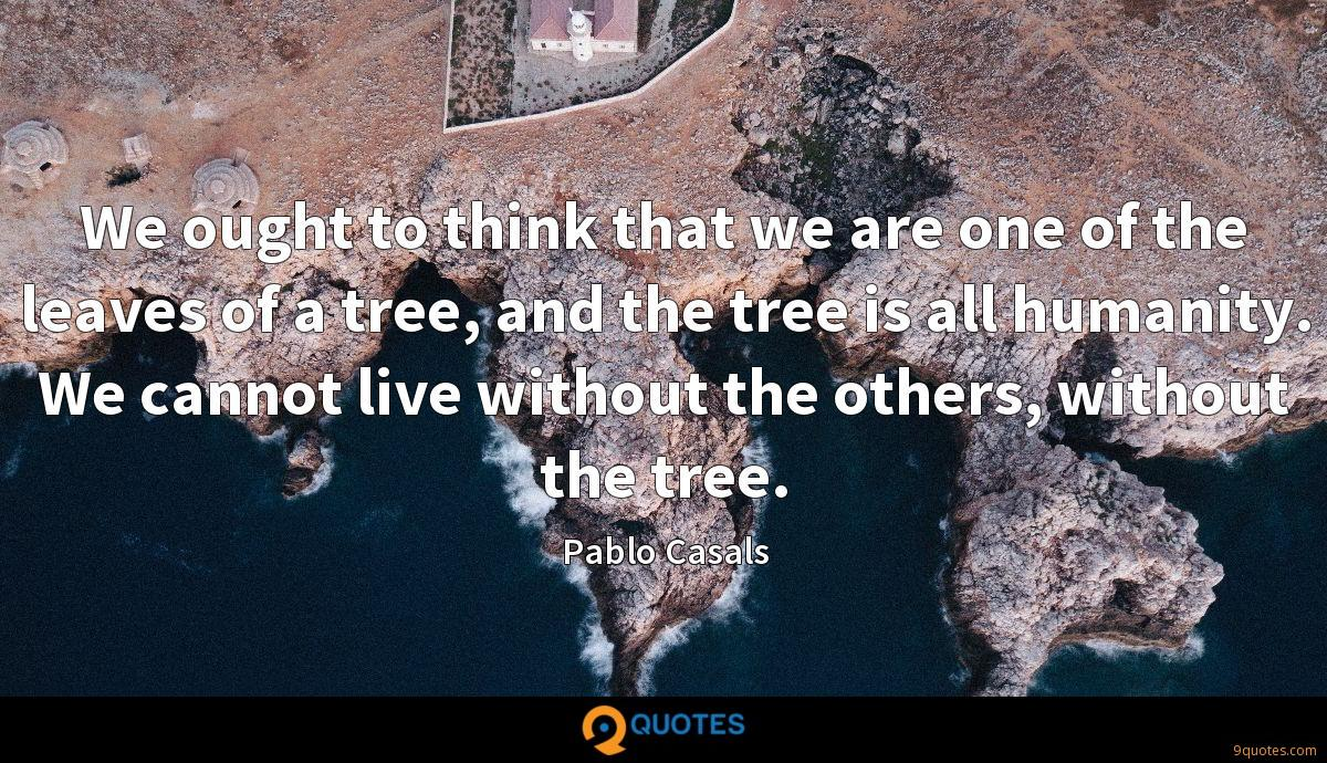 We ought to think that we are one of the leaves of a tree, and the tree is all humanity. We cannot live without the others, without the tree.