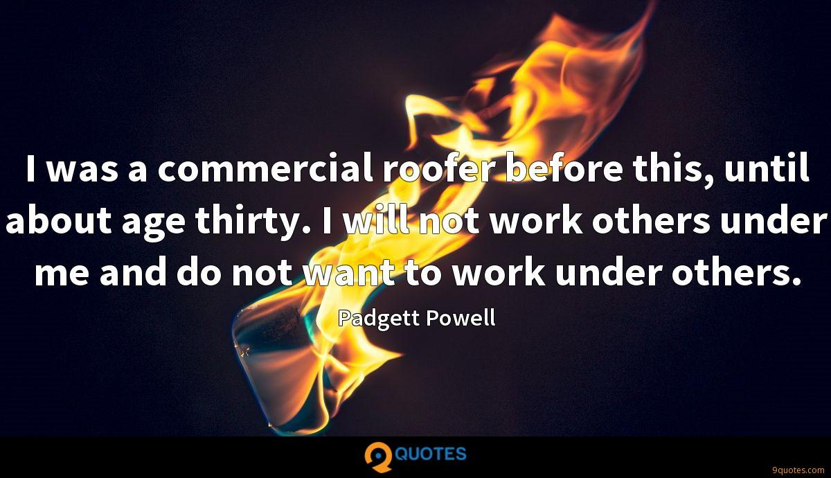 I was a commercial roofer before this, until about age thirty. I will not work others under me and do not want to work under others.