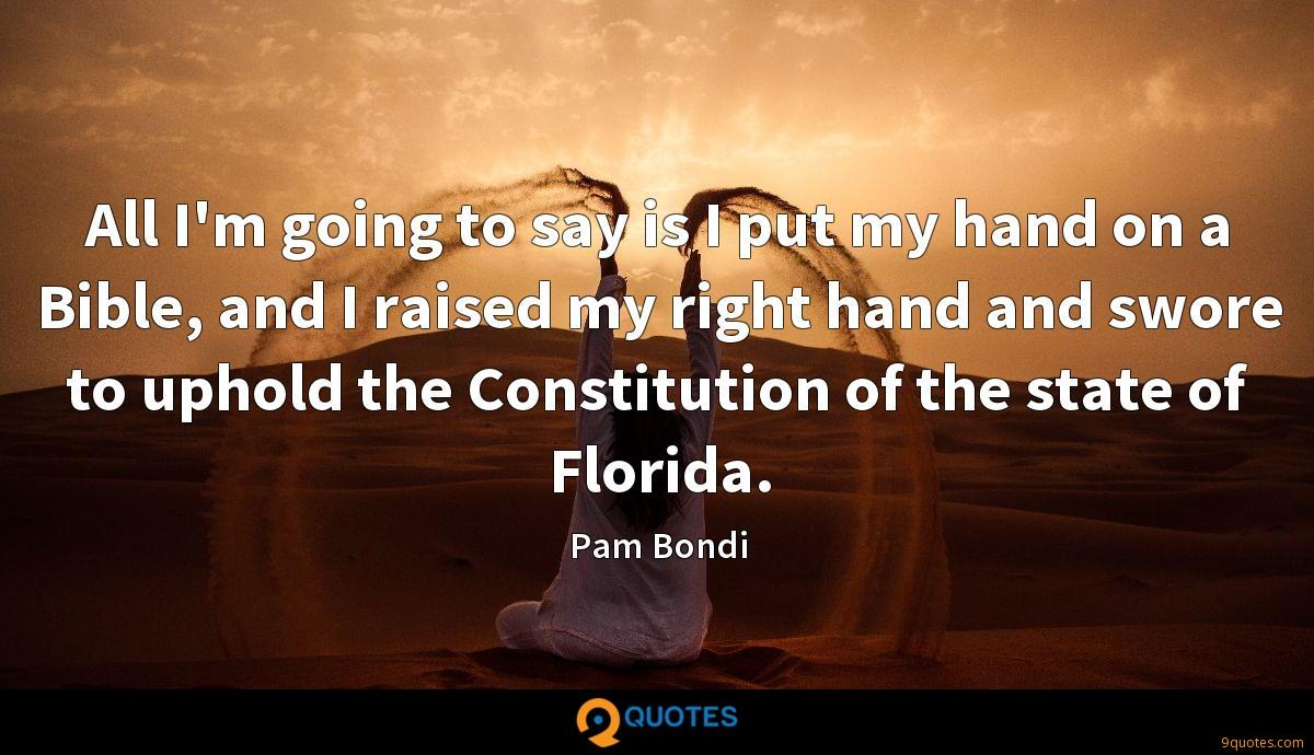 All I'm going to say is I put my hand on a Bible, and I raised my right hand and swore to uphold the Constitution of the state of Florida.