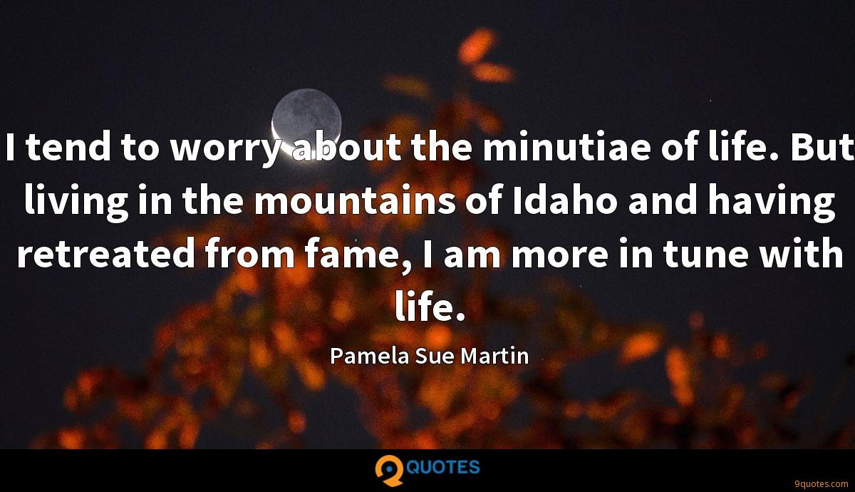 I tend to worry about the minutiae of life. But living in the mountains of Idaho and having retreated from fame, I am more in tune with life.