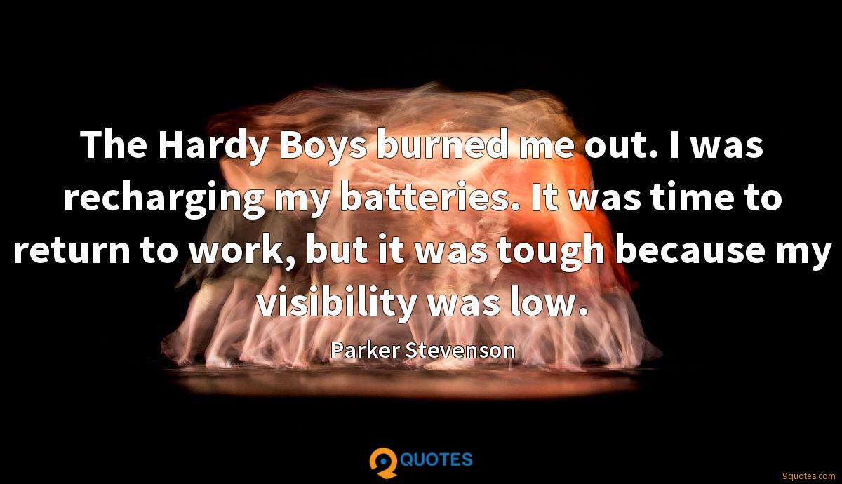 The Hardy Boys burned me out. I was recharging my batteries. It was time to return to work, but it was tough because my visibility was low.