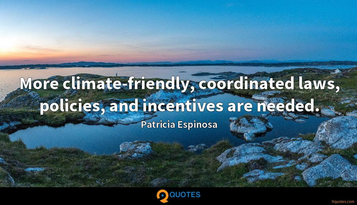 More climate-friendly, coordinated laws, policies, and incentives are needed.