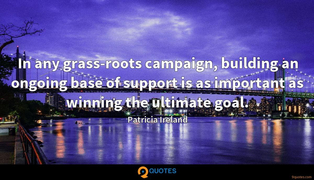 In any grass-roots campaign, building an ongoing base of support is as important as winning the ultimate goal.