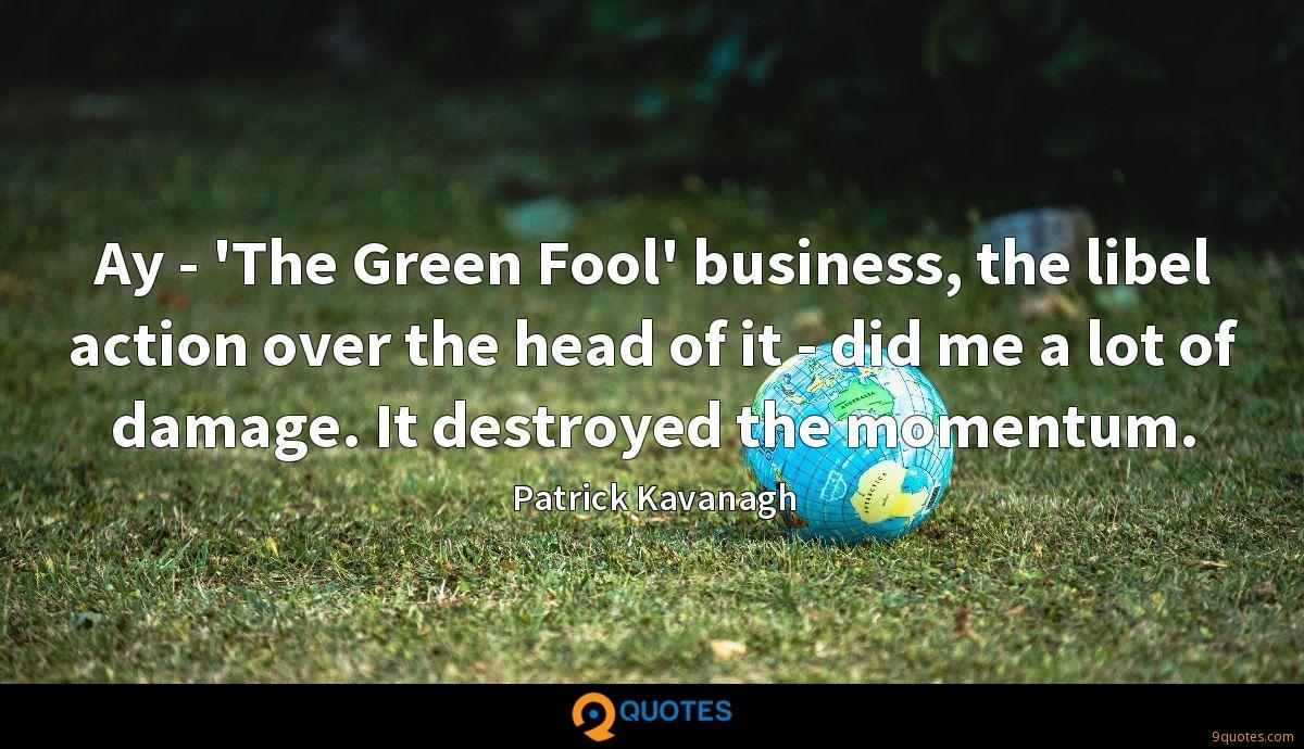 Ay - 'The Green Fool' business, the libel action over the head of it - did me a lot of damage. It destroyed the momentum.