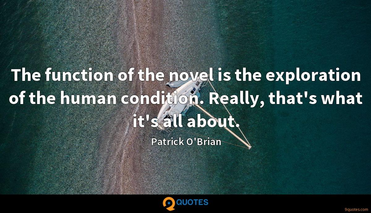 The function of the novel is the exploration of the human condition. Really, that's what it's all about.