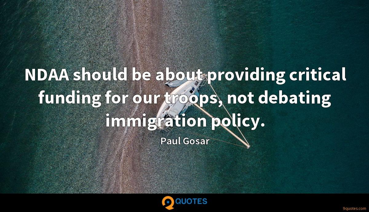 NDAA should be about providing critical funding for our troops, not debating immigration policy.