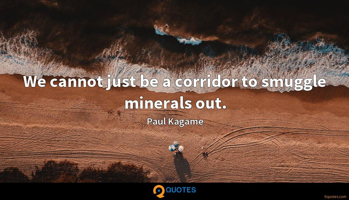 We cannot just be a corridor to smuggle minerals out.