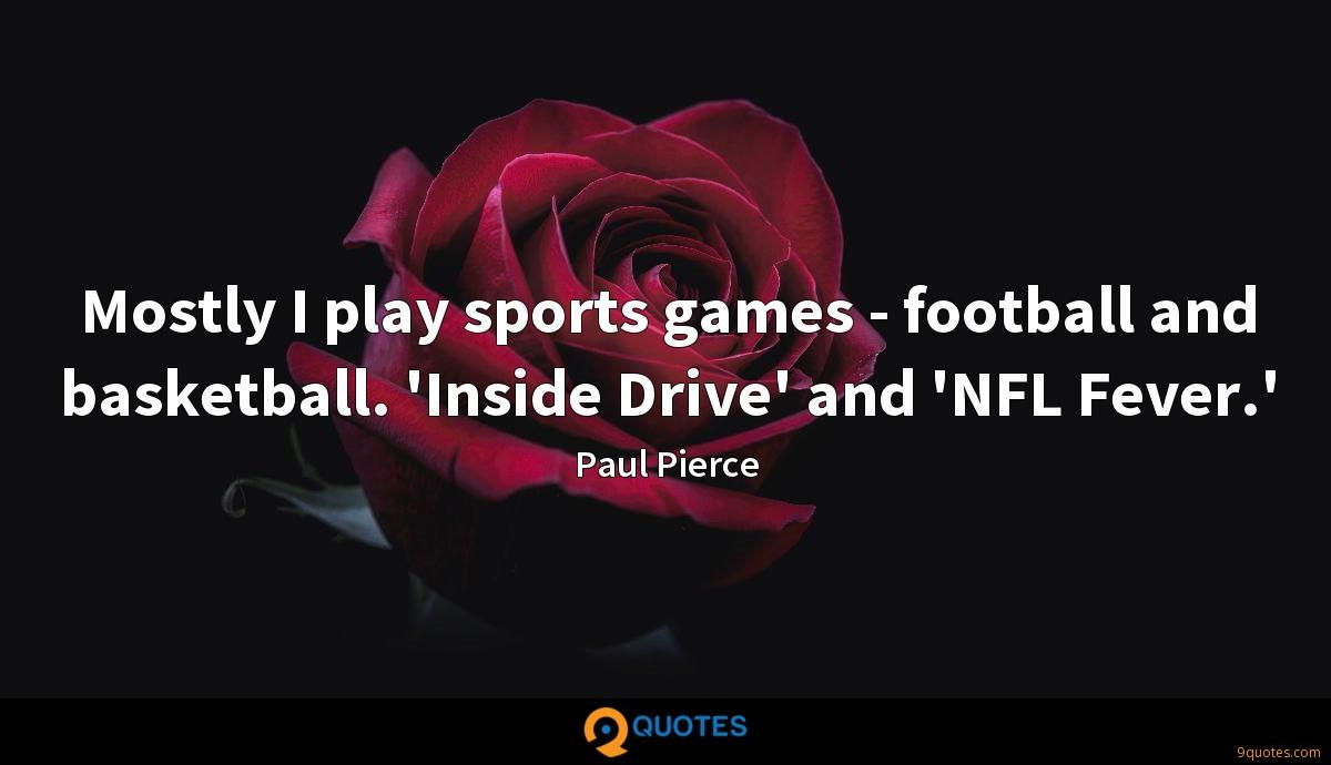Mostly I play sports games - football and basketball. 'Inside Drive' and 'NFL Fever.'