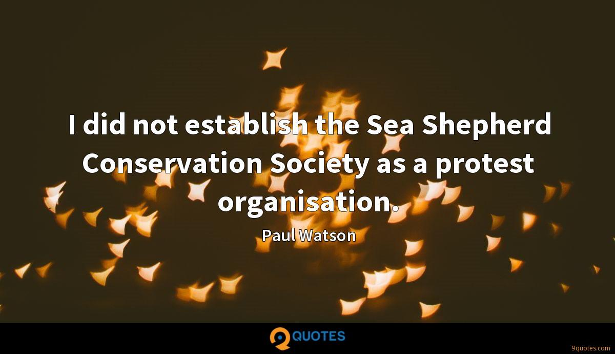 I did not establish the Sea Shepherd Conservation Society as a protest organisation.