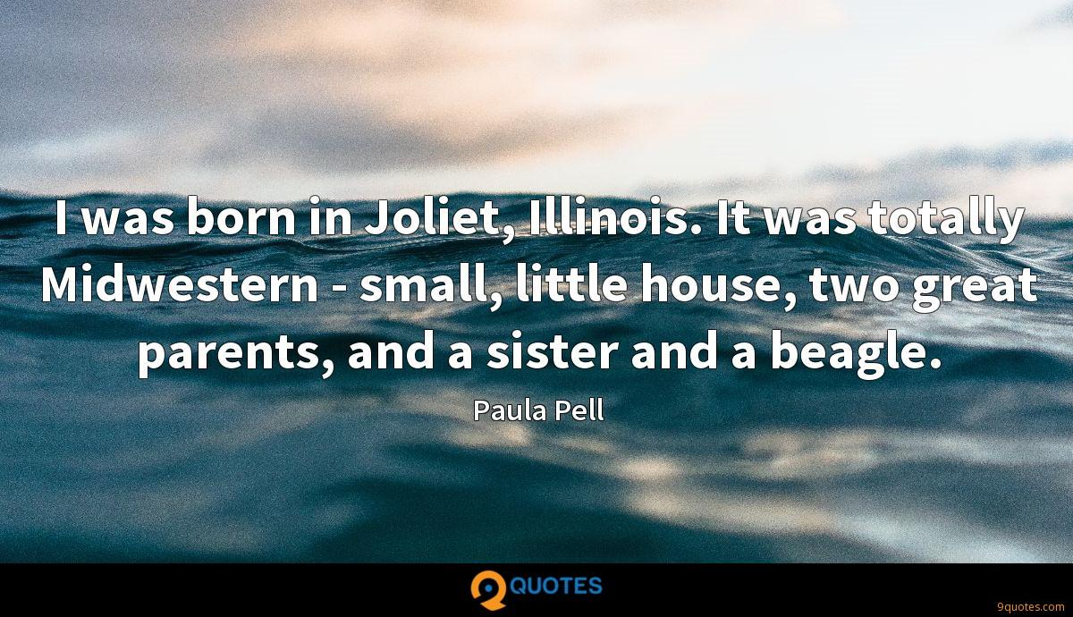 I was born in Joliet, Illinois. It was totally Midwestern - small, little house, two great parents, and a sister and a beagle.