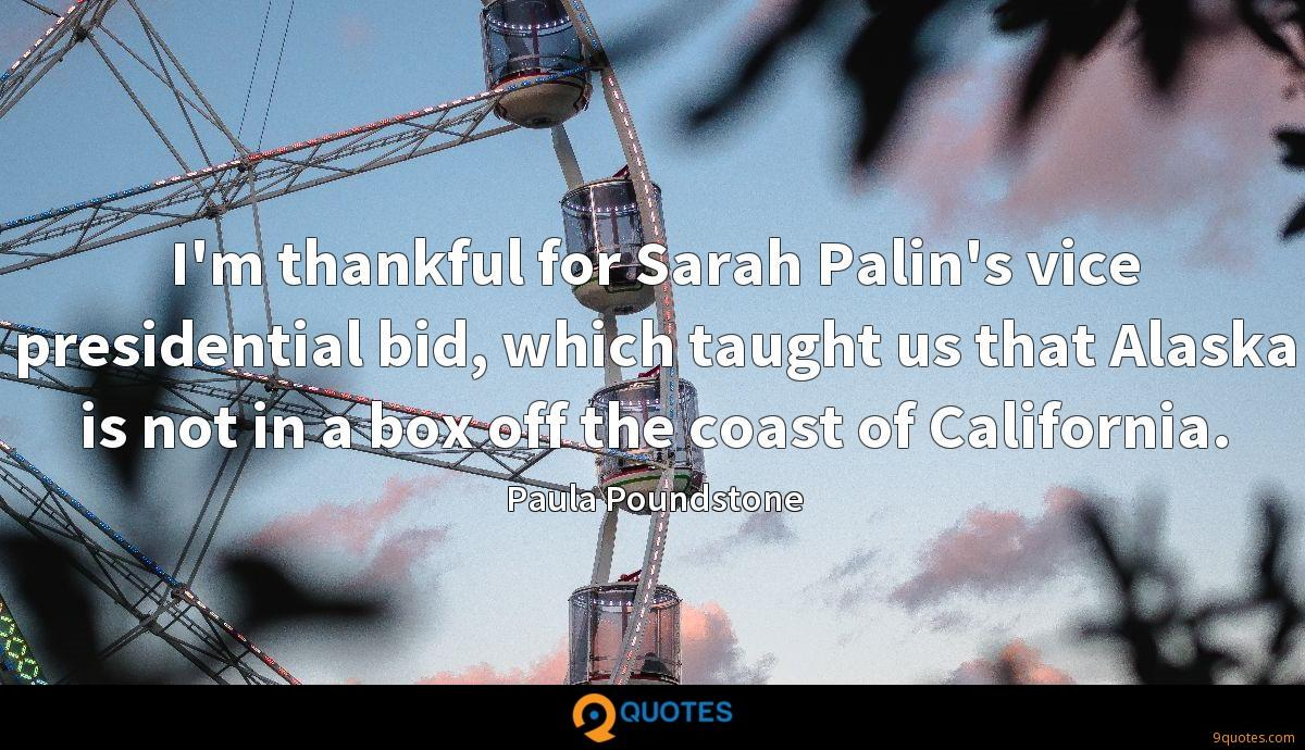 I'm thankful for Sarah Palin's vice presidential bid, which taught us that Alaska is not in a box off the coast of California.