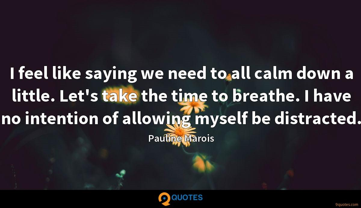 I feel like saying we need to all calm down a little. Let's take the time to breathe. I have no intention of allowing myself be distracted.