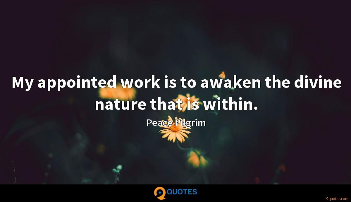 My appointed work is to awaken the divine nature that is within.
