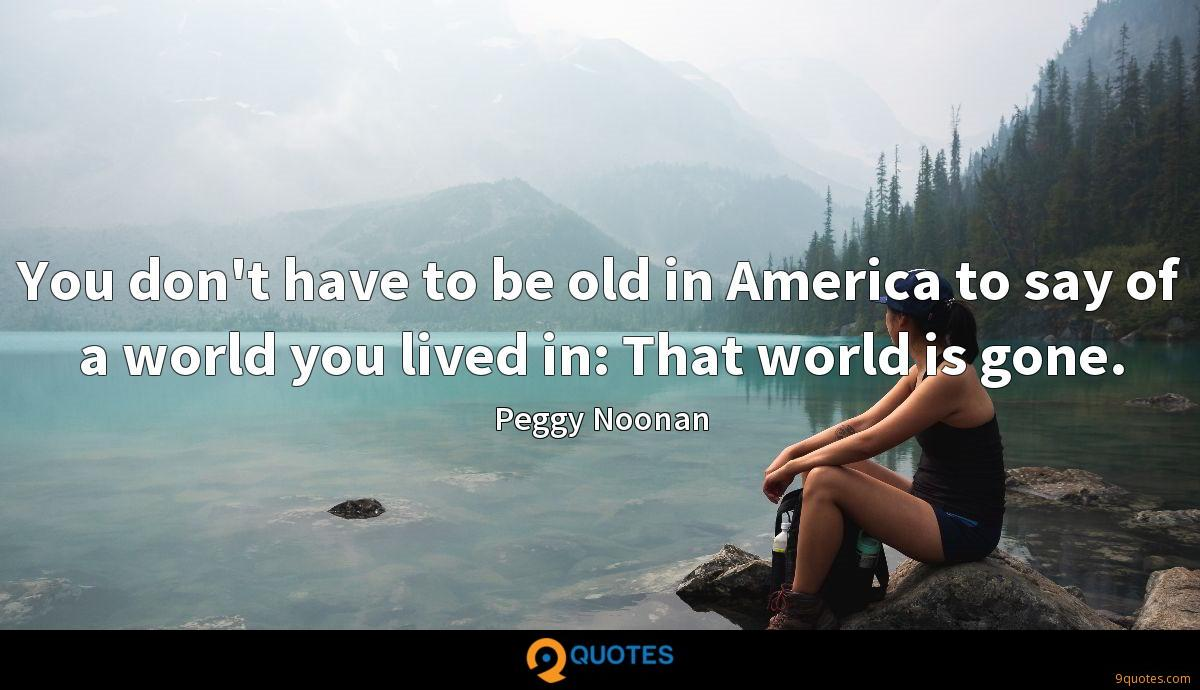 You don't have to be old in America to say of a world you lived in: That world is gone.
